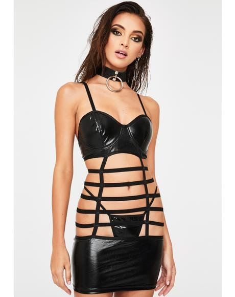 Hands-On Caged Mini Dress N' G-String Set