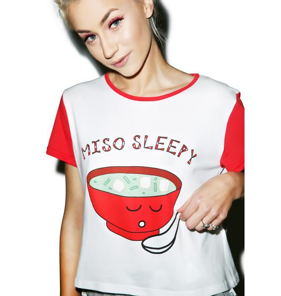 Mink Pink Miso Sleepy Crop Tee