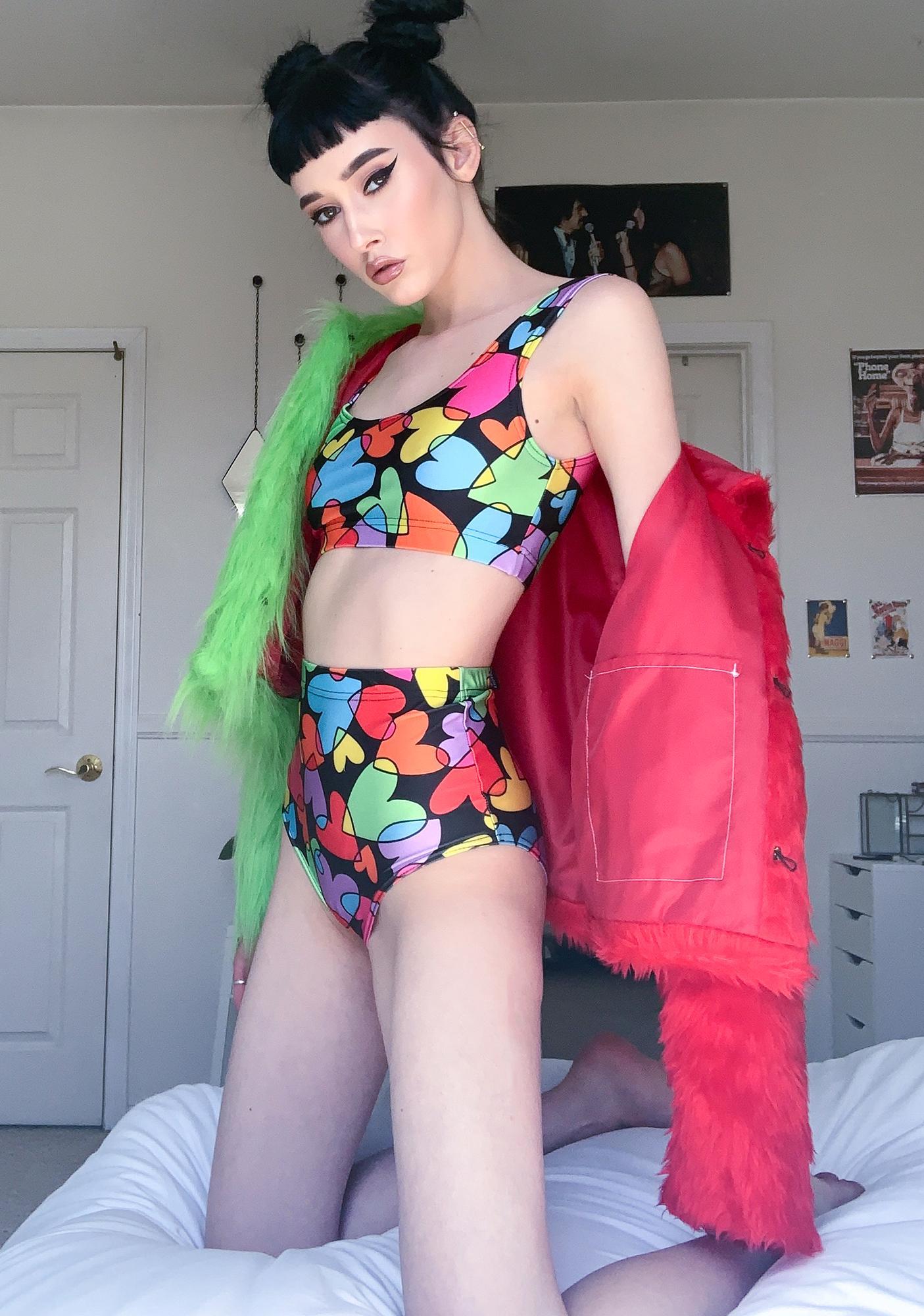 Tara Khorzad Rainbow Hearts Bikini Bottoms