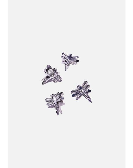 Silver Dragonfly Hairclips