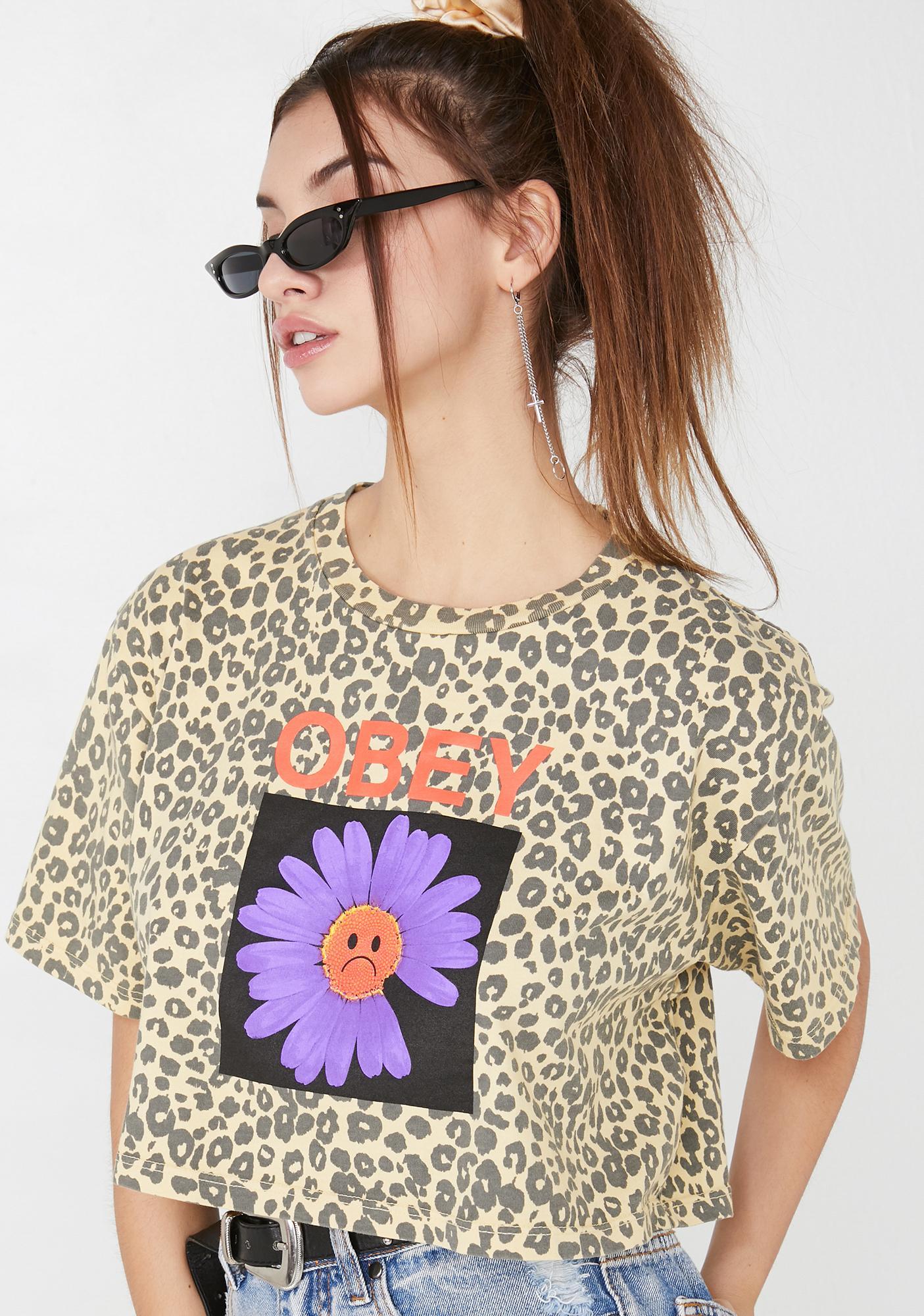Obey Sad Daisy Cropped T-Shirt