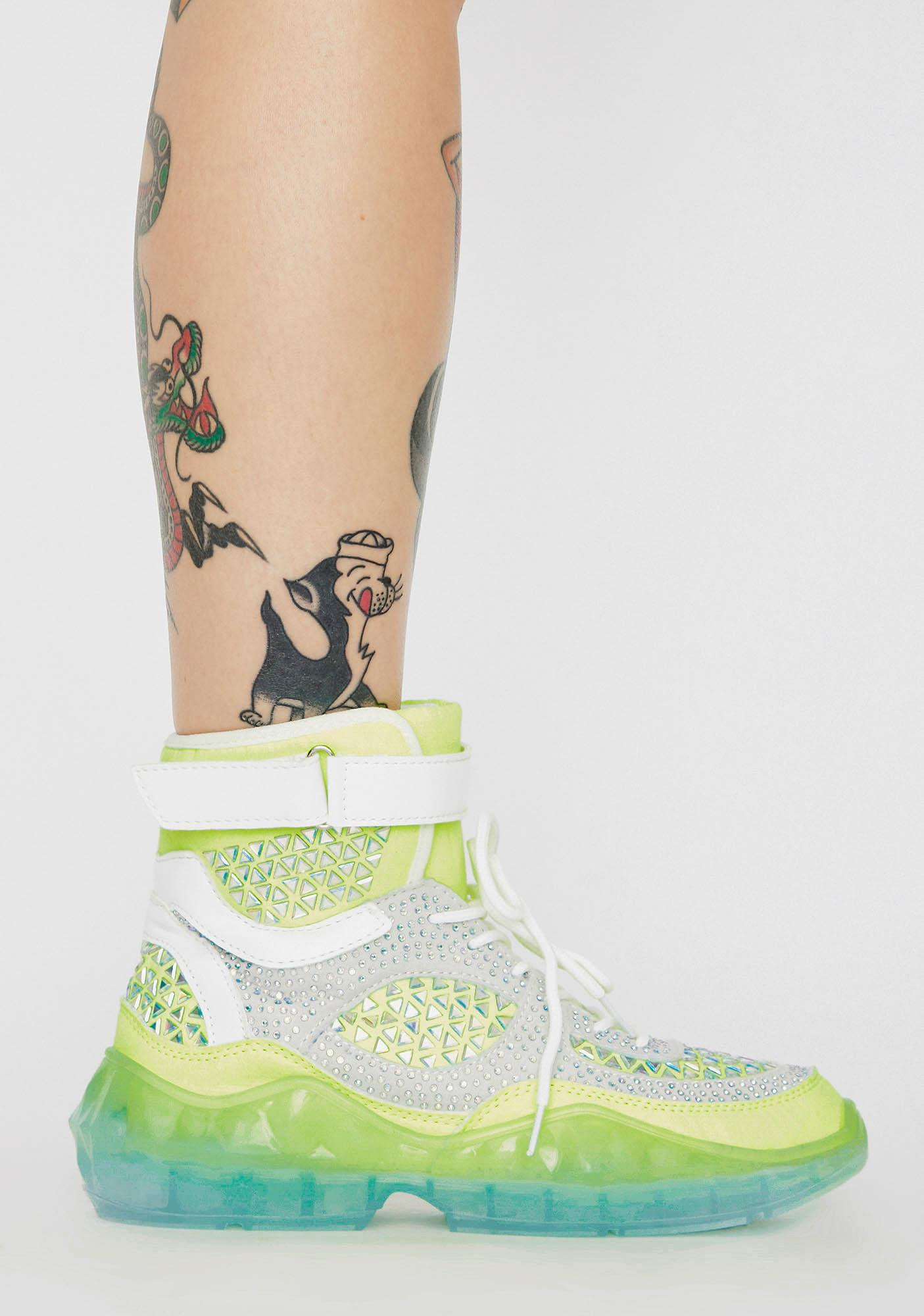 Lime Gridlocked High Top Sneakers