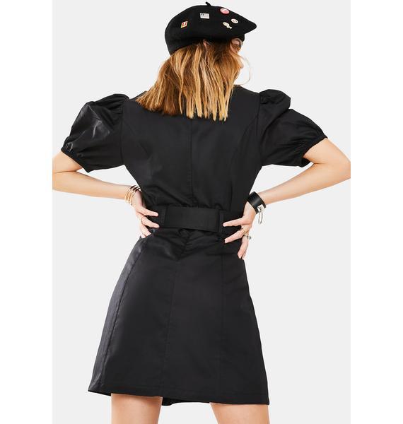 Glamorous Black Puff Sleeve Mini Dress