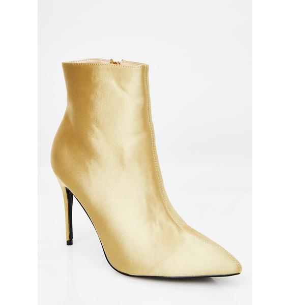 Public Desire Gold Porter Satin Ankle Boot