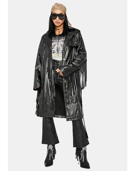 Mystic On The Run Fringe Trench Coat