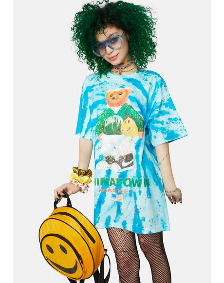 Smiley Sketch Basketball Bear Tie Dye Graphic Tee
