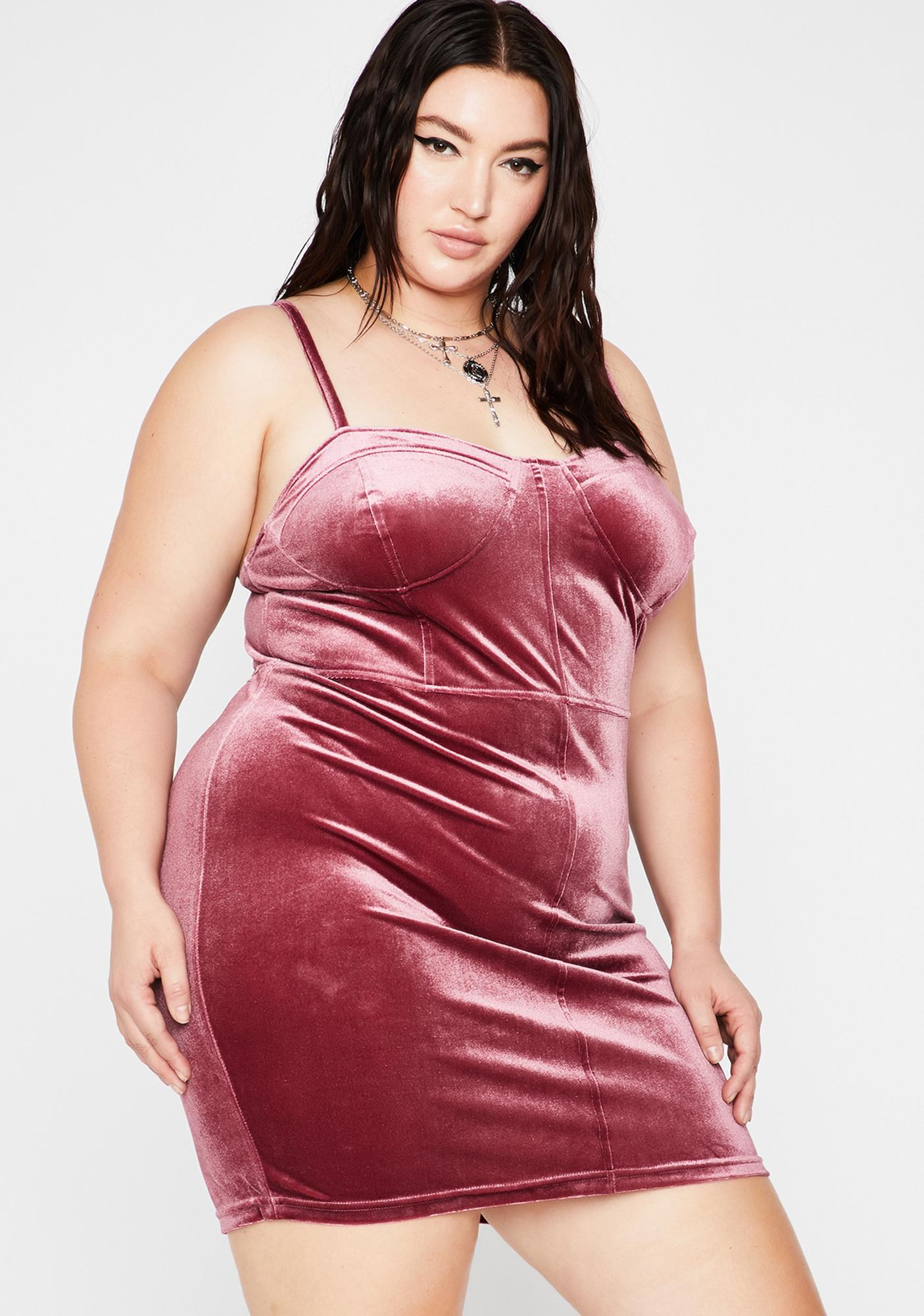 Berry Honey Walk This Way Velvet Dress