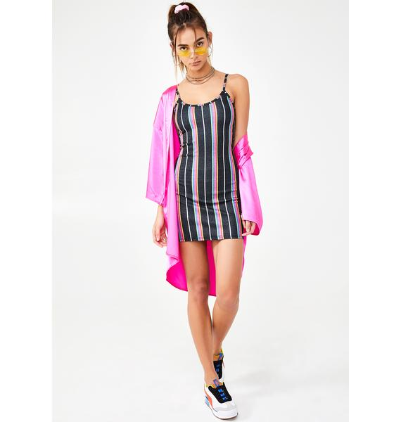 NEW GIRL ORDER Dark Glitter Stripe Dress