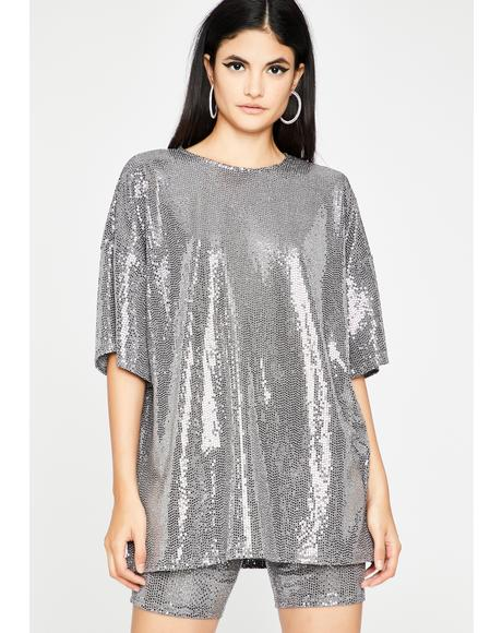 Shiny Stuntin' Sequin Shorts Set