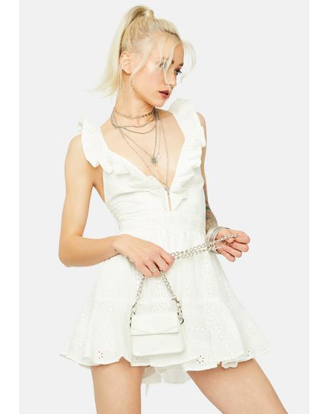 Cuz Ur Cute Sleeveless Eyelet Ruffle Trim Romper