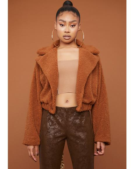 Camel It's A Mood Teddy Moto Jacket