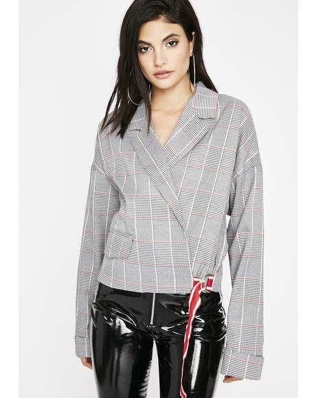 Playin Checkers Plaid Blazer