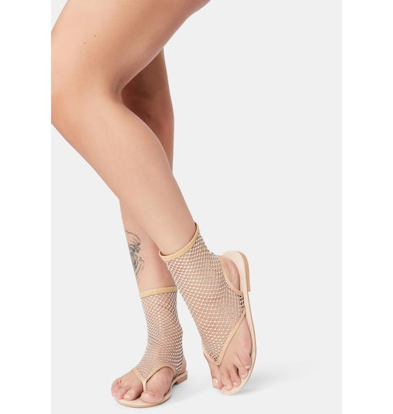 Bubbly Time To Remember Ankle Fishnet Sandals