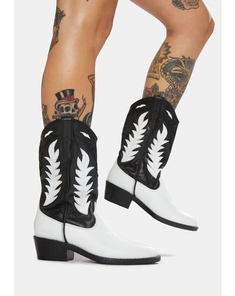 India Two-Tone Leather Cowboy Boots