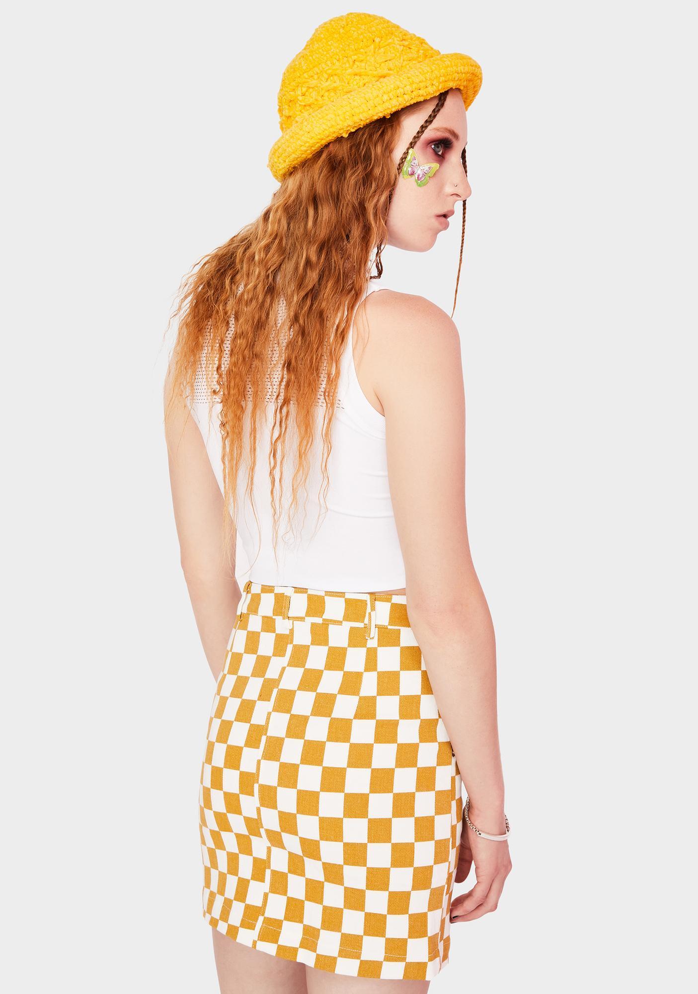 Re Named Denim Checkered Mini Skirt