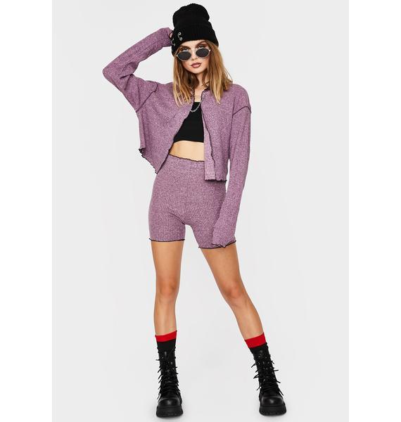 ZEMETA Purple Knit Biker Shorts