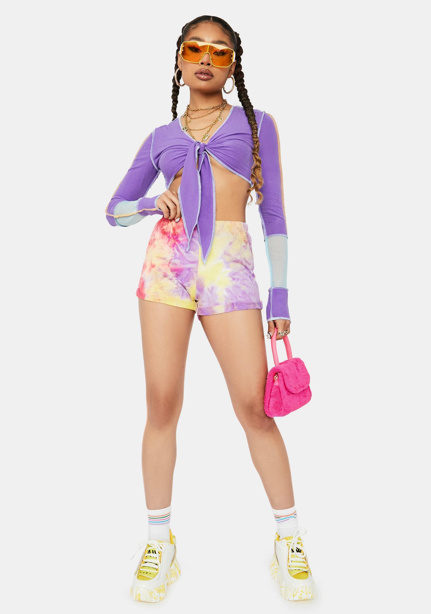 Lilac Adapting Fierce Tie Dye Lounge Shorts