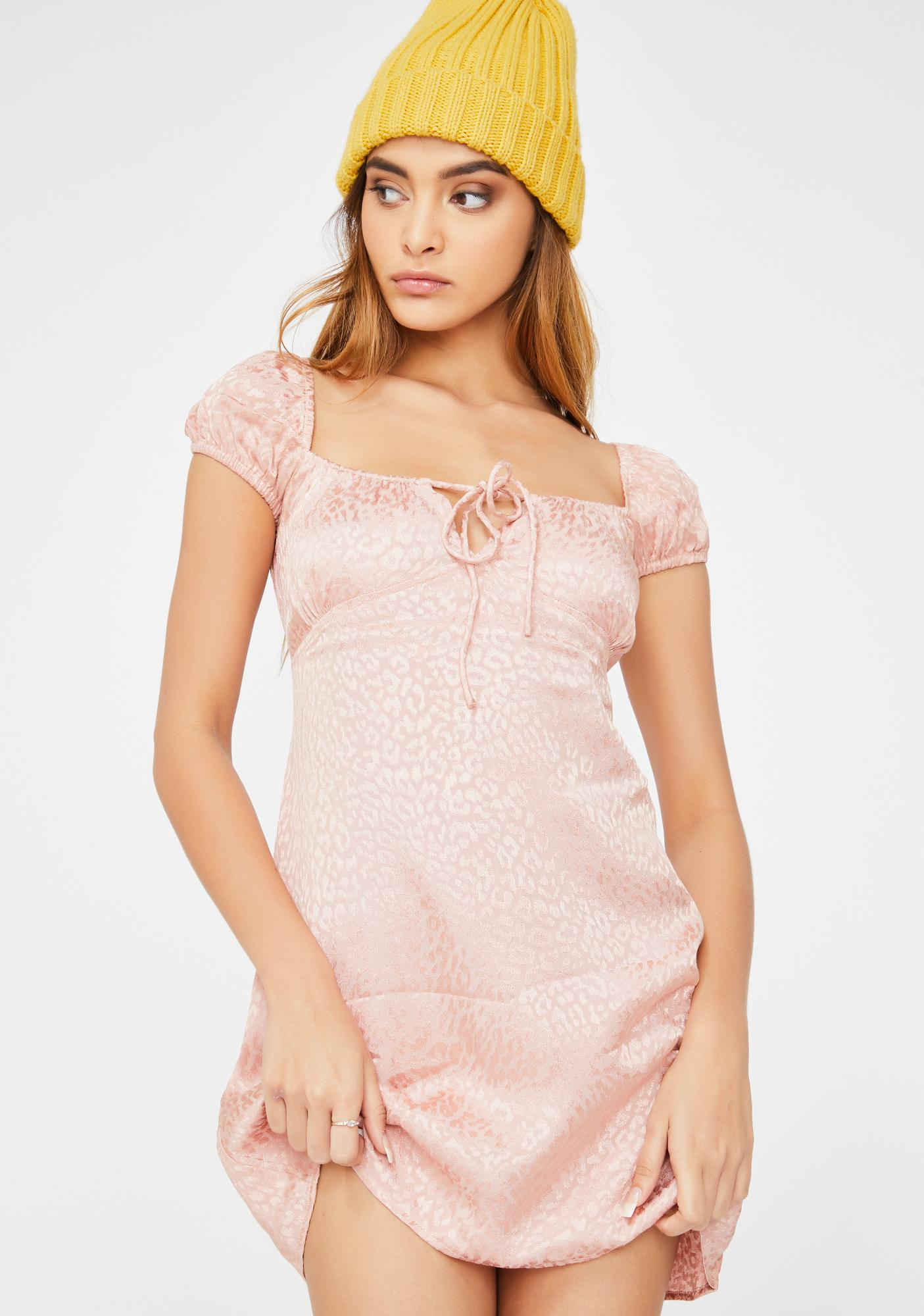 Motel Pink Cheetah Gaval Dress
