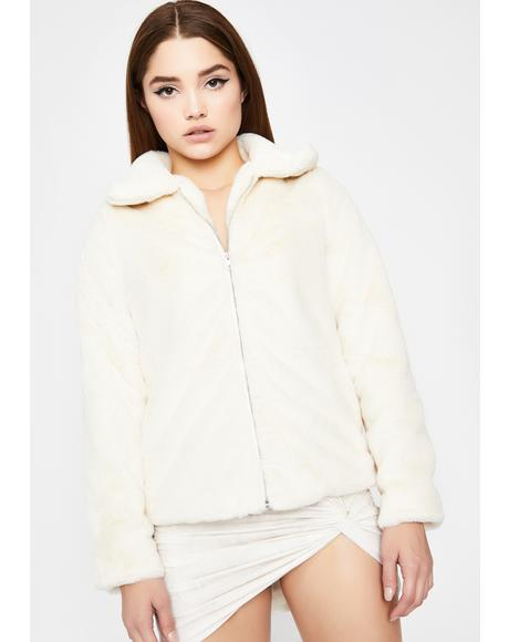 Ivory All My Love Faux Fur Jacket
