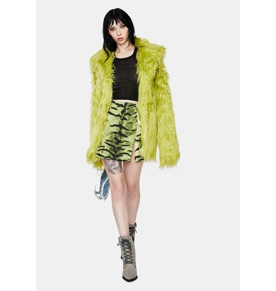 Motel Pelmet Khaki Tiger Mini Skirt