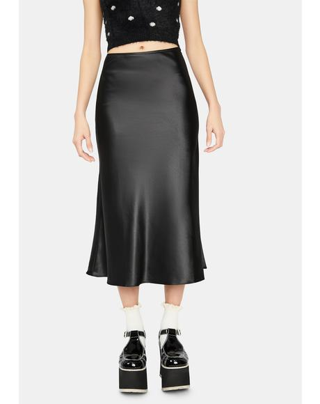 Dark For The Record Satin Midi Skirt