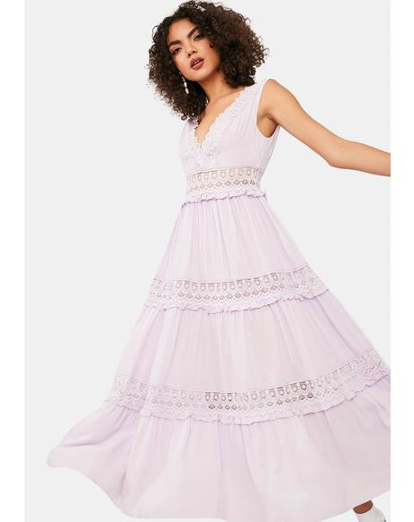 Fresh Start Lace Tiered Midi Dress