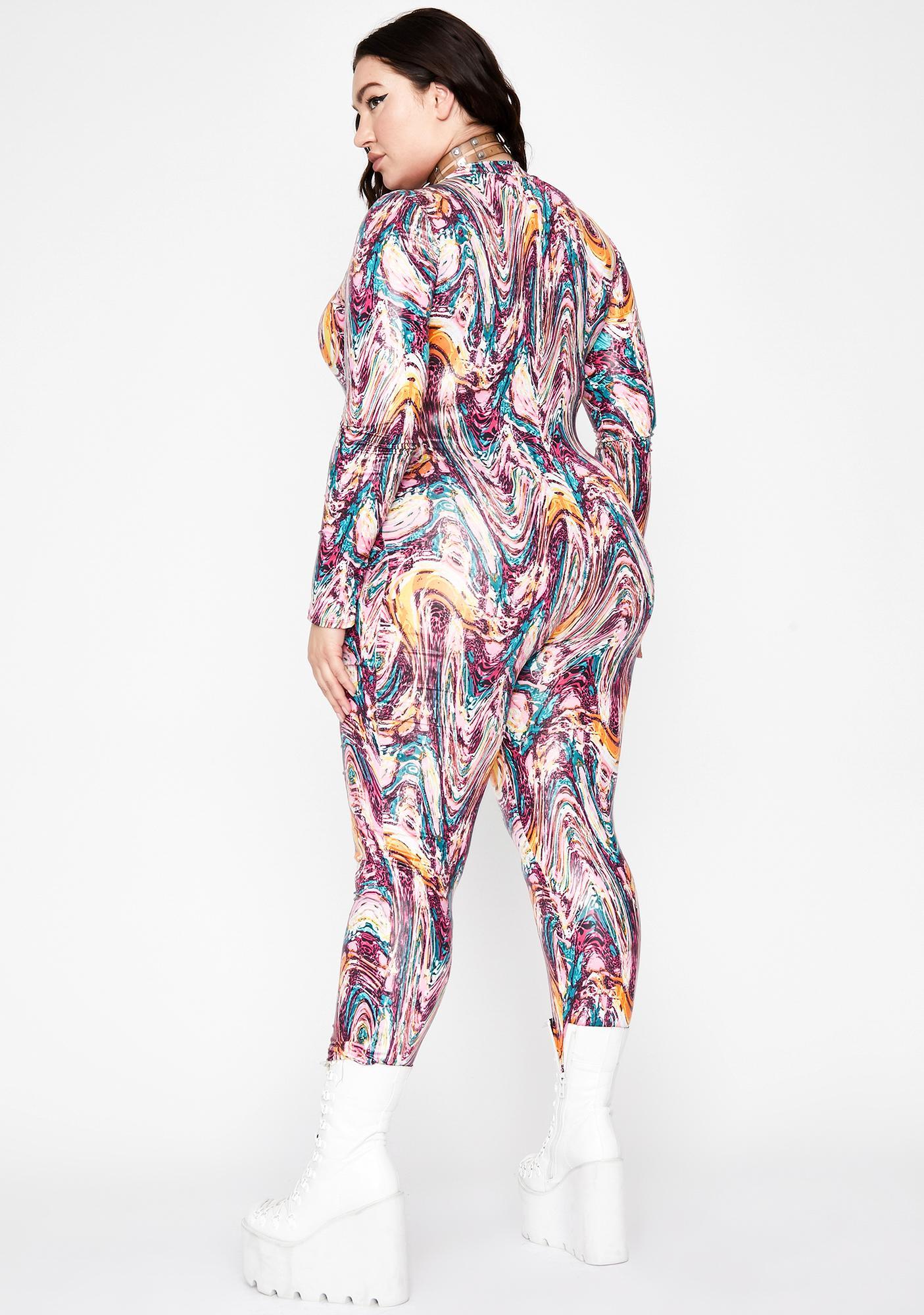 Mermaid Lux Dip N' Drip Zip Up Jumpsuit