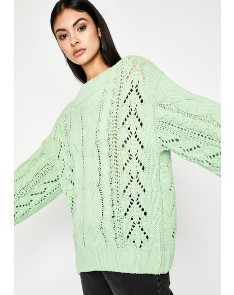 Spearmint Gumdrop Buttons Oversized Sweater