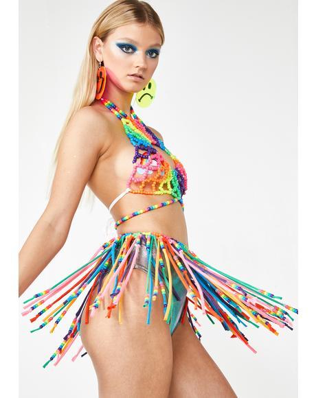 Rainbow Fringe Kandi Skirt
