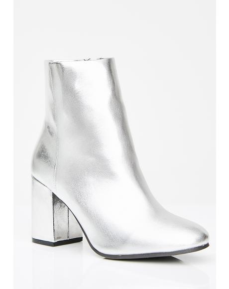 Platinum Pretty Bish Ankle Boots