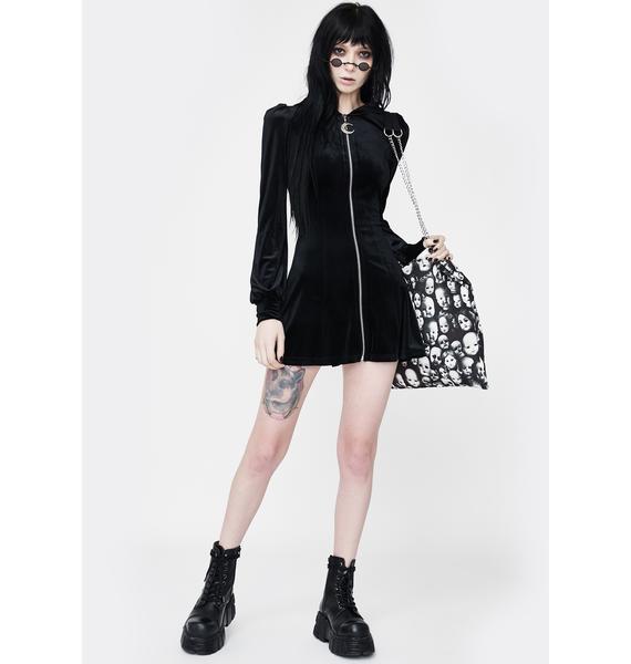 Punk Rave Velvet Zip Up Hooded Dress