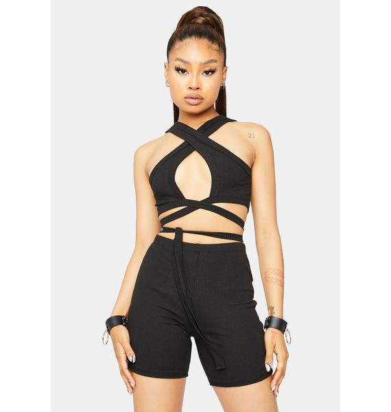 Wicked Young Hearts Wrap Top And Shorts Set