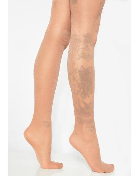 Rose Golden Glittering Flash Tights