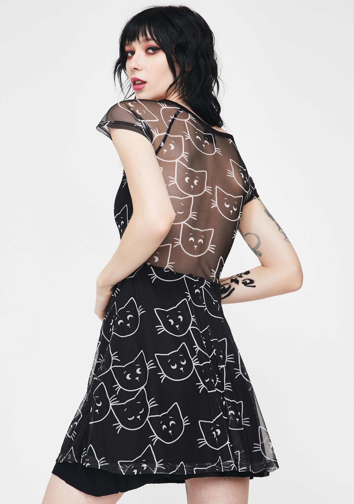 Fearless Illustration Side Eye Skater Dress
