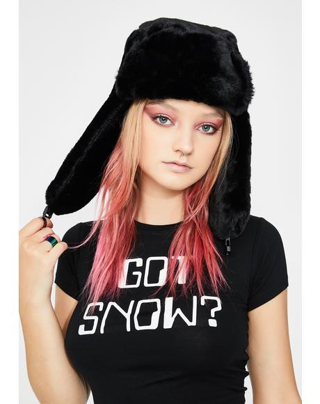 Chilling Fresh Powder Fur Trapper Hat