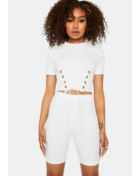 Bliss Actually Famous Lace Up Crop Top Shorts Set
