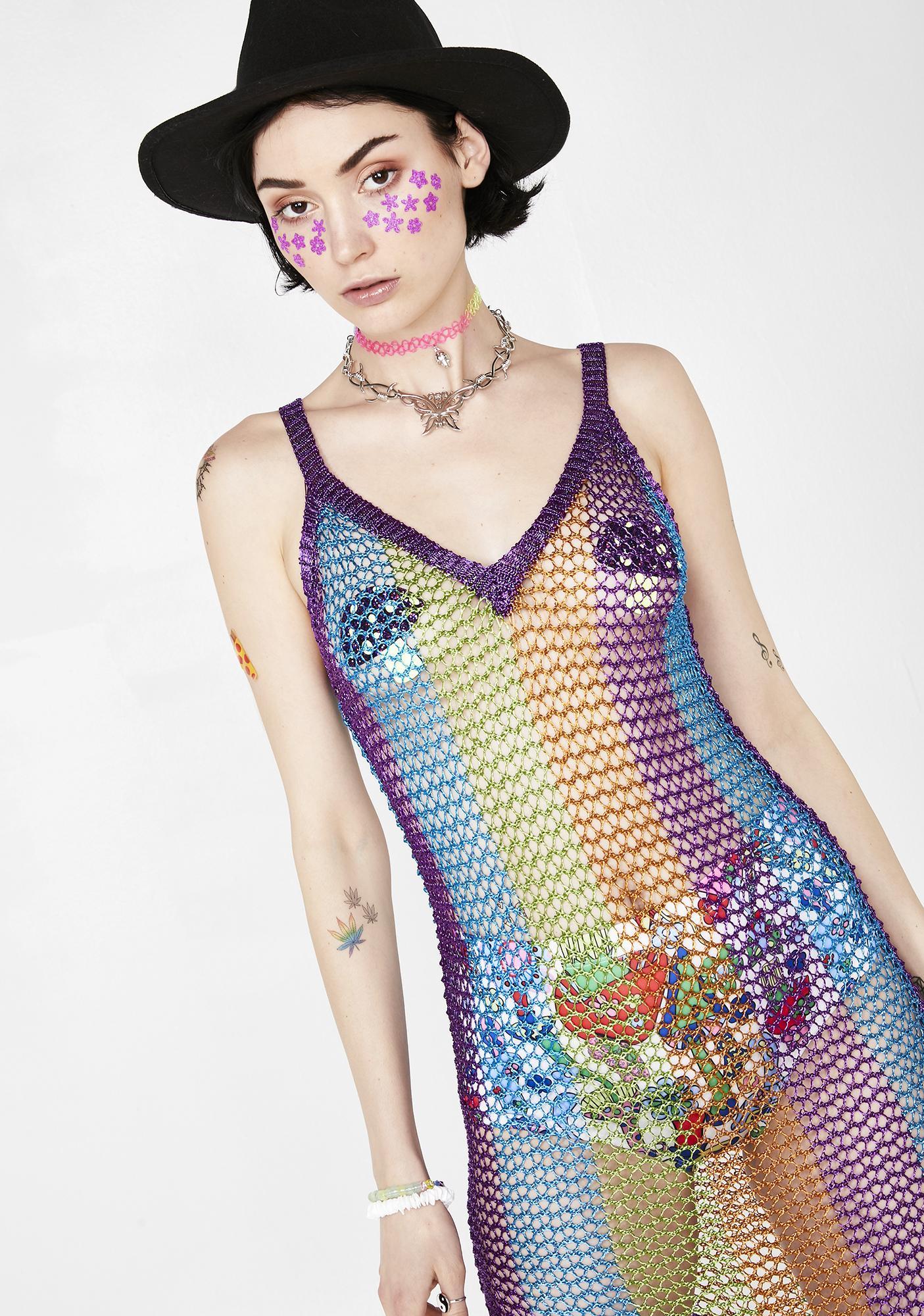Rainbow Radiance Crochet Dress