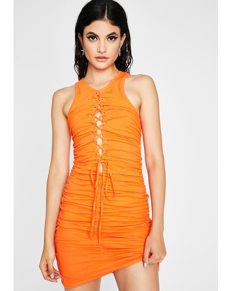 Bound N Beautiful Ruched Mini Dress