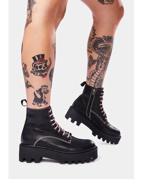 Bikers Mischief Lace Up Boots