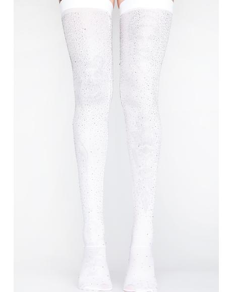 Iced Out Rhinestone Thigh Highs