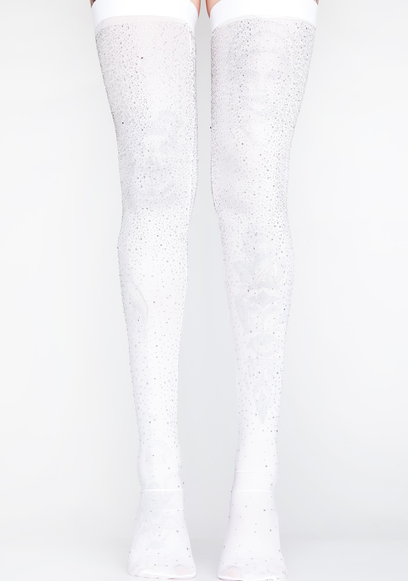 b06807831 White Silver Rhinestone Sheer Thigh Highs