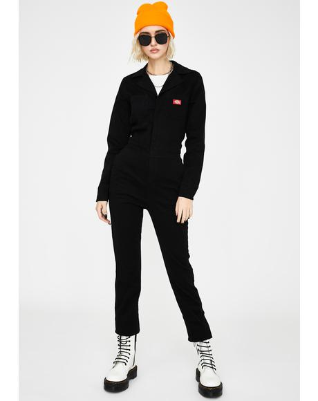 Brushed Twill Button Front Coveralls