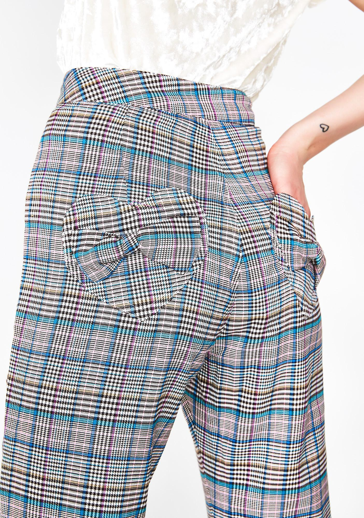 Lazy Oaf Check Kick Flare Trousers