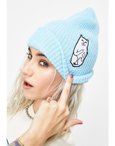 Baby Blue Lord Nermal Ribbed Beanie