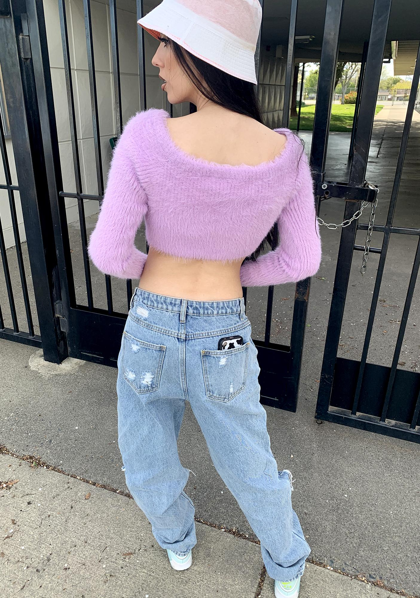 The Ragged Priest Venus Zip Up Bardot Sweater