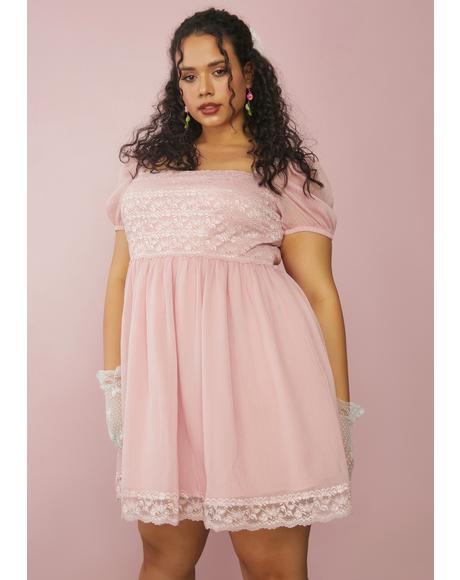 Rose Juicy Honeydew Pucker Babydoll Dress