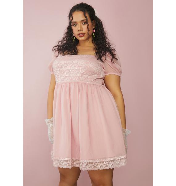 Sugar Thrillz Rose Juicy Honeydew Pucker Babydoll Dress