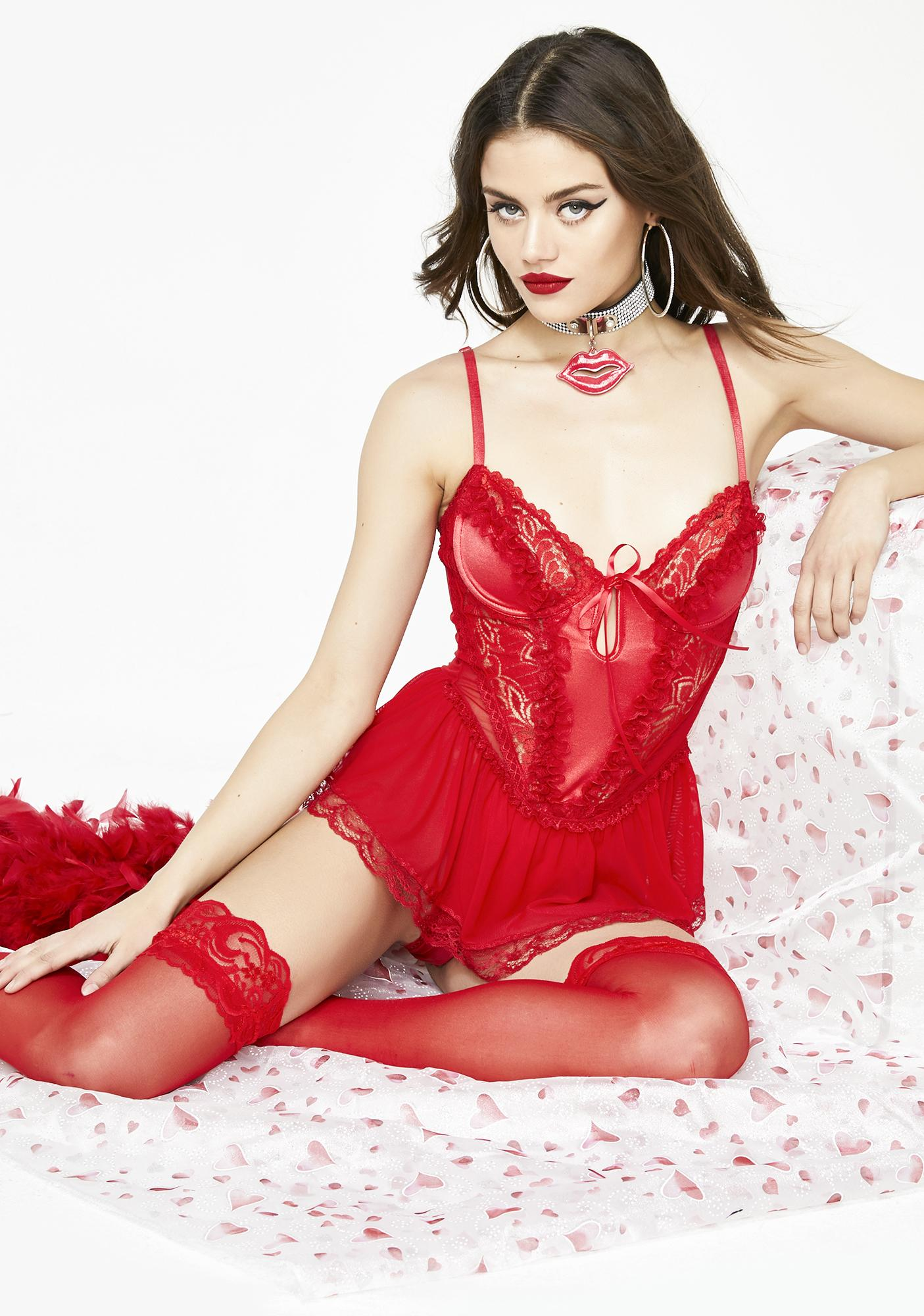 Current Mood Love Story Lace Teddy