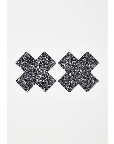 Black Chunky Glitter Cross Pasties