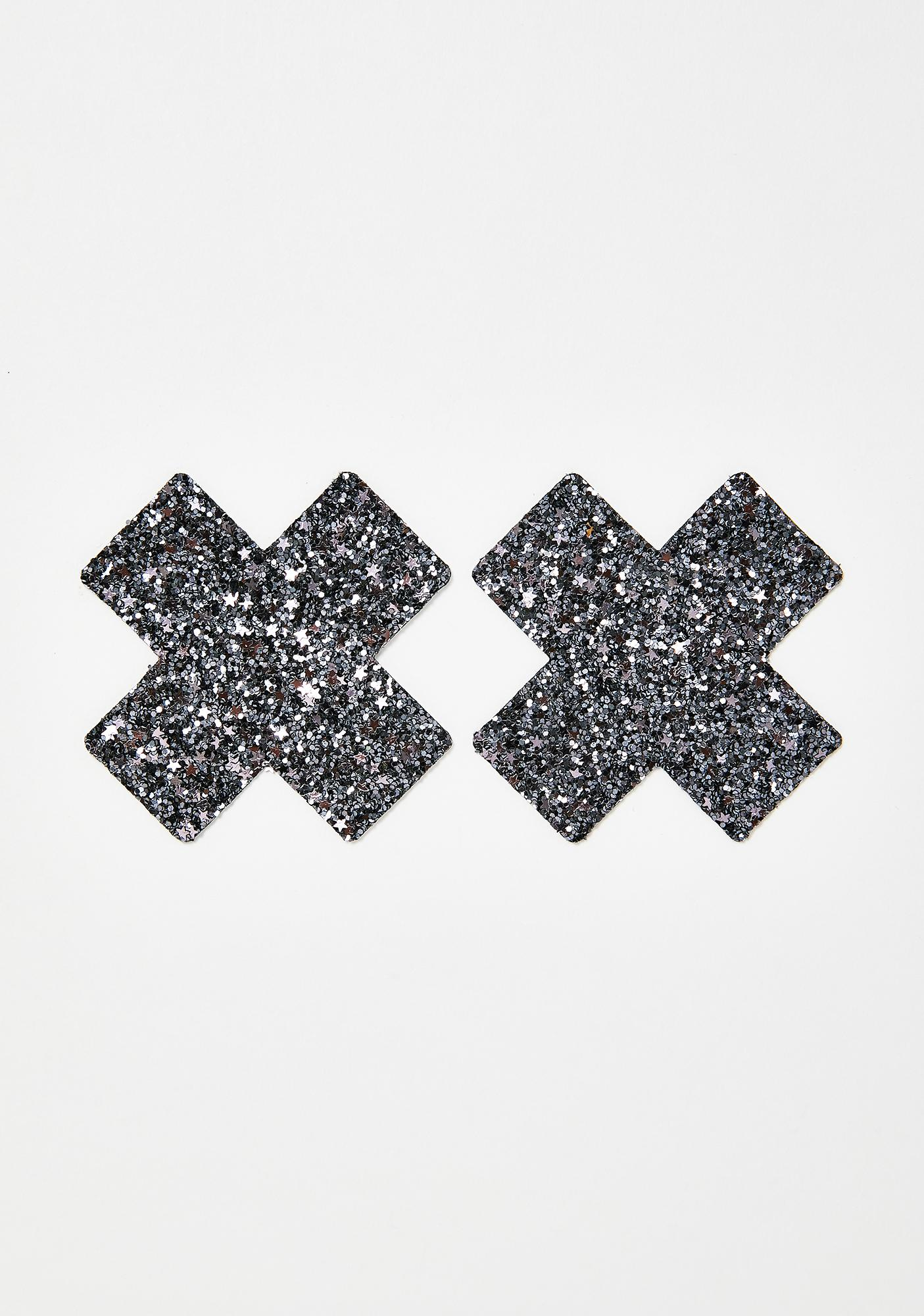 Neva Nude Black Chunky Glitter Cross Pasties